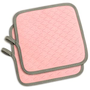 TOPHOME Silicone Oven Mitts and Potholders Dual Use,Texture Non-Slip,waterproof and Heat Resistant Safe Mats for Barbecue,Outdoor BBQ,Cooking, Baking,Pink