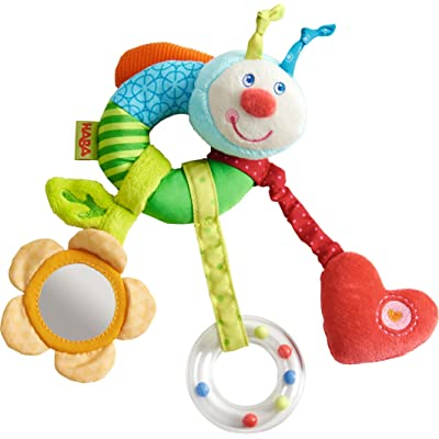 HABA Clutching Figure Rainbow Worm - Machine Washable Plush Ring with Dangling Elements for 6 Months +: Toys & Games