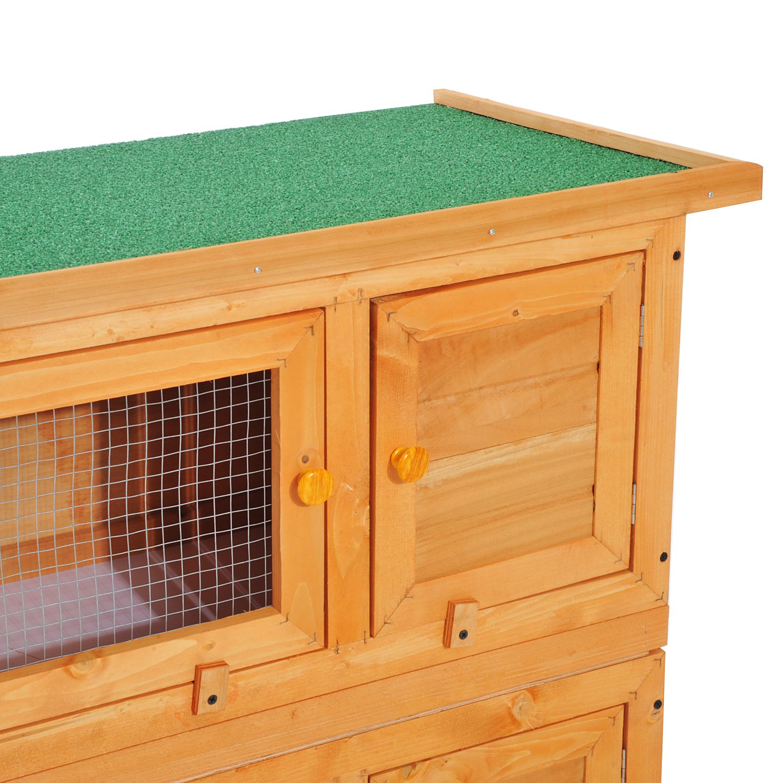 Jaula de madera de 2 pisos de PawHut, conejera para conejillos de indias; con bandeja deslizante y apertura superior: Amazon.es: Productos para mascotas