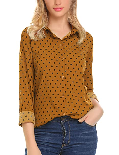 Women's Button Down Shirts Long Sleeve Polka Dot Blouse Top