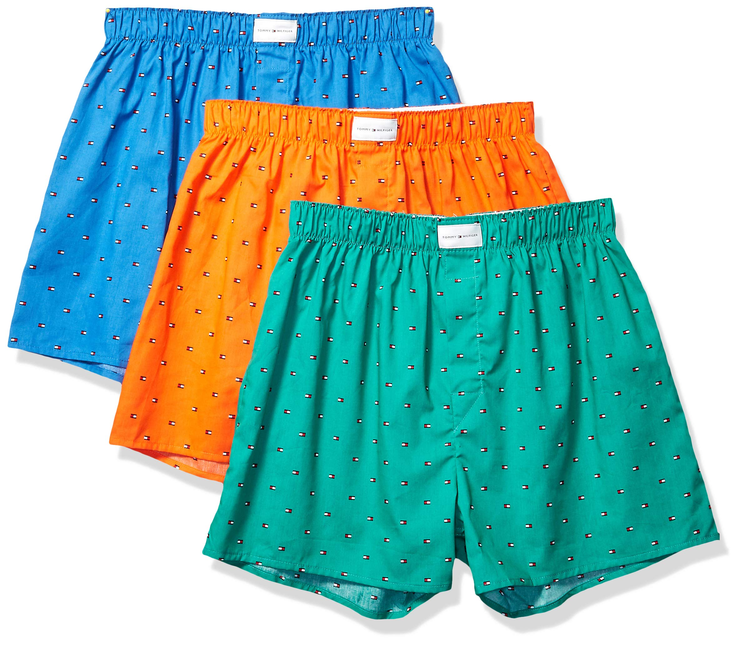 Tommy Hilfiger Men's Underwear Multipack Cotton Classics Woven Boxer, Green Multi (Multi 3 Pack), XX-Large by Tommy Hilfiger