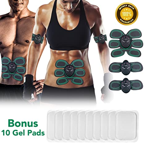 Outdoor Electrical Muscle Simulation Abs Two Pad Ems Training Gear Fitness Equip Sporting Goods