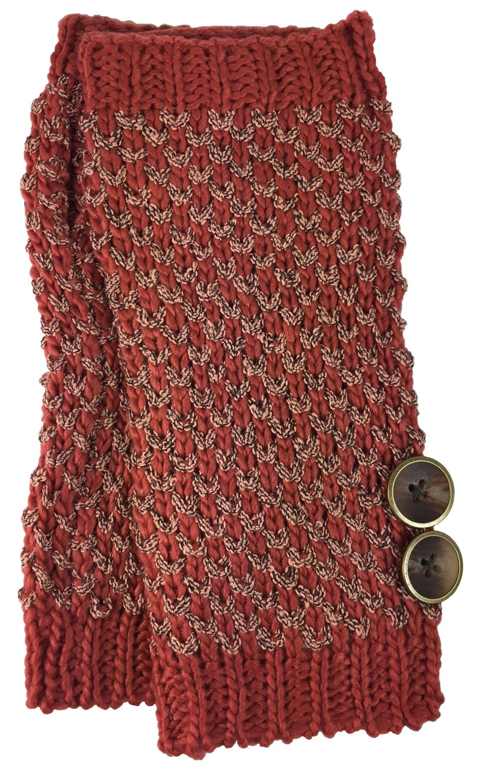 Simply Noelle Bumble Wrist Warmers with Buttons (Pomegranate)