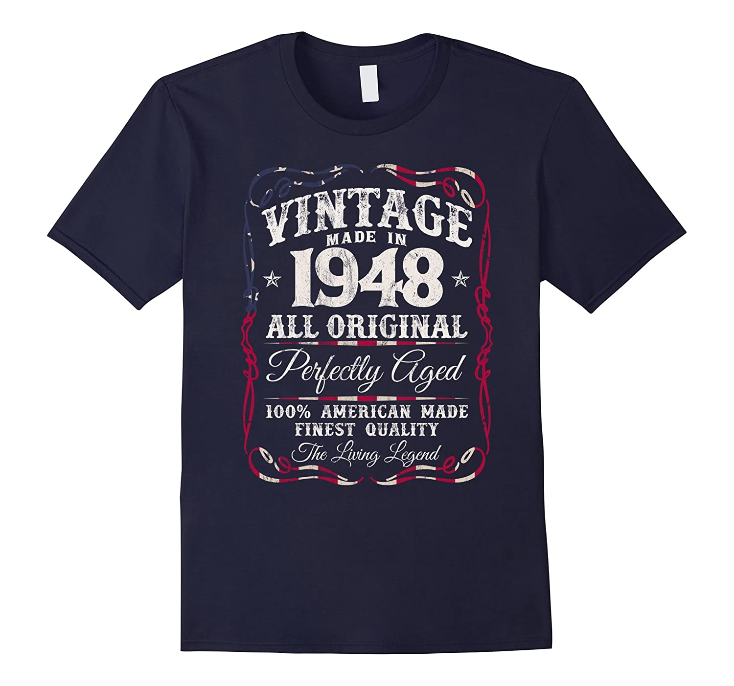 Vintage Made in 1948 T-Shirt 69th Birthday USA Flag-FL