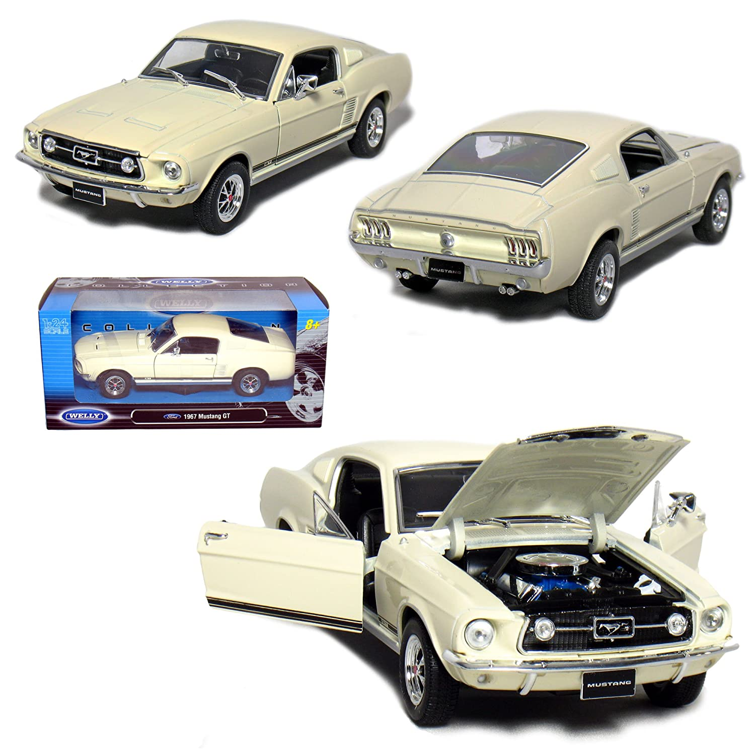 Amazon com welly 1 24 scale die cast collection 1967 ford mustang gt cream toys games