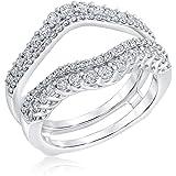 Ellaura Embrace Round Diamond Double Row Ring Guard 7/8ctw