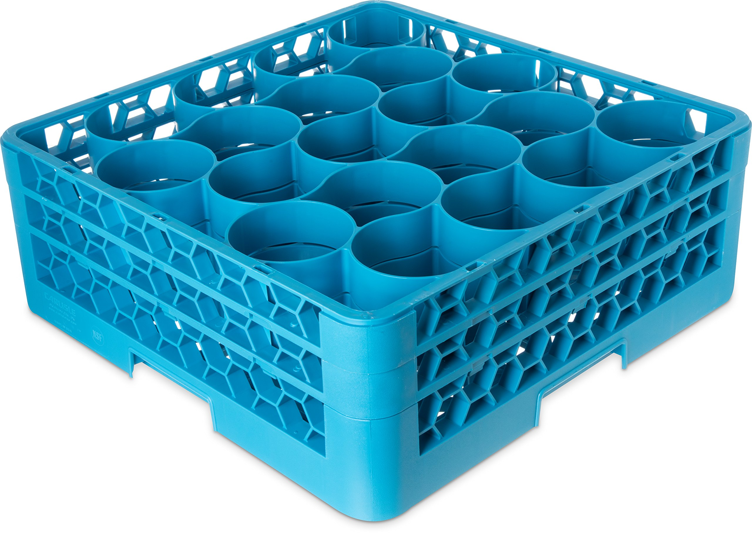 Carlisle RW20-114 OptiClean NeWave Polypropylene 20-Compartment Glass Rack with 2 Extenders, 19-3/4'' Length x 19-3/4'' Width x 7.12'' Height, Blue (Case of 3) by Carlisle