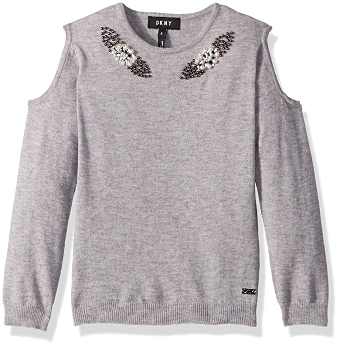 f565b2a61f Amazon.com  DKNY Girls  Cold Shoulder Pearl Sweater  Clothing