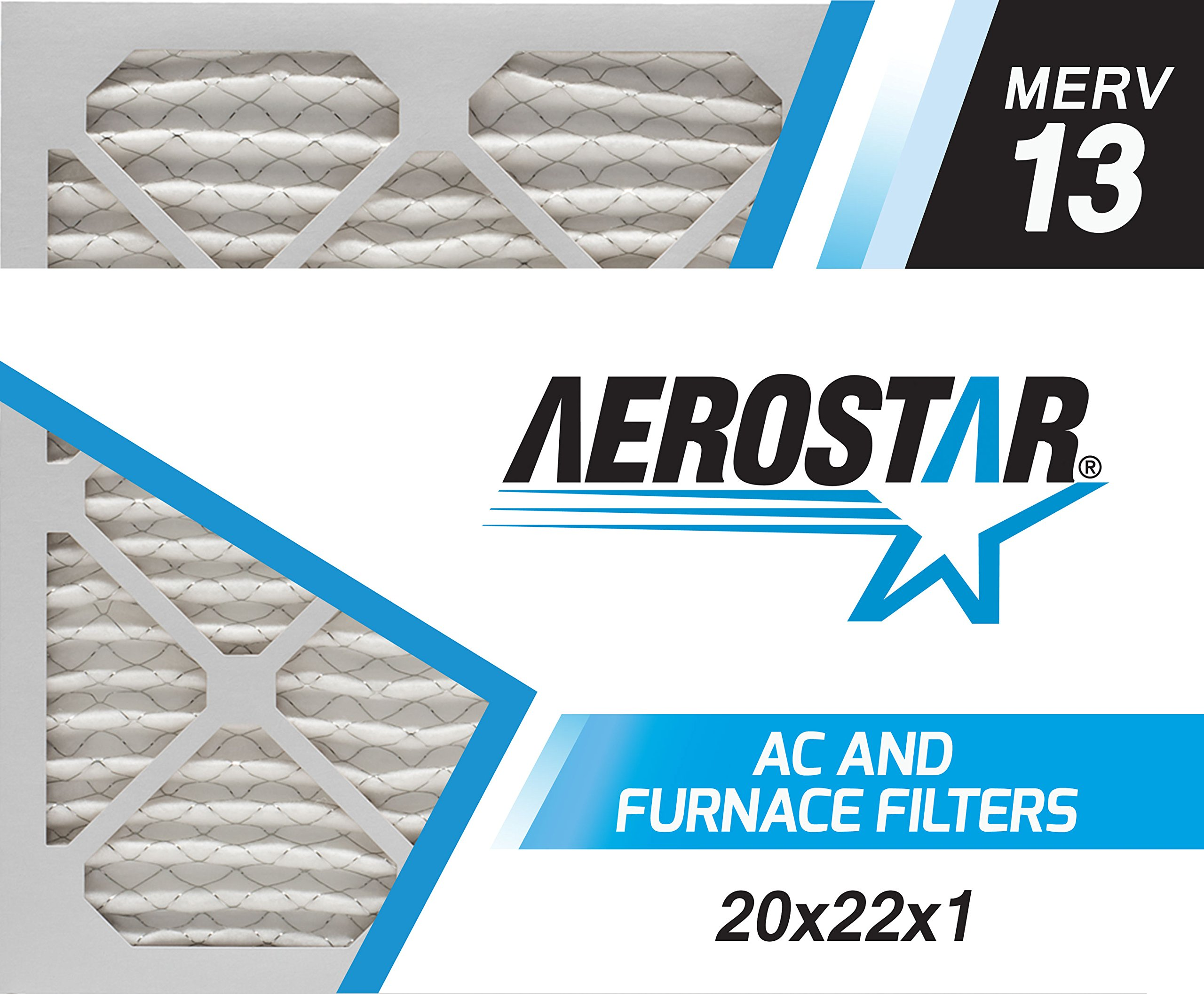 Aerostar 20x22x1 MERV 13, Pleated Air Filter, 20x22x1, Box of 4, Made in the USA