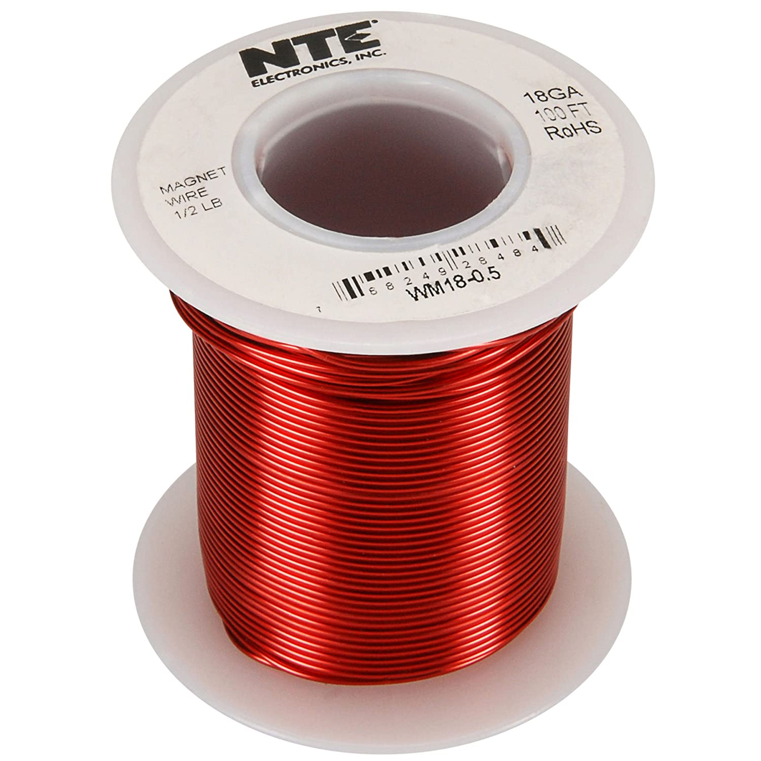 NTE Electronics WM18-0.5 Series WM Magnet Hook Up Wire, Solid, Type 18 Gauge, 0.5 lb. Spool, 100' Length 100' Length