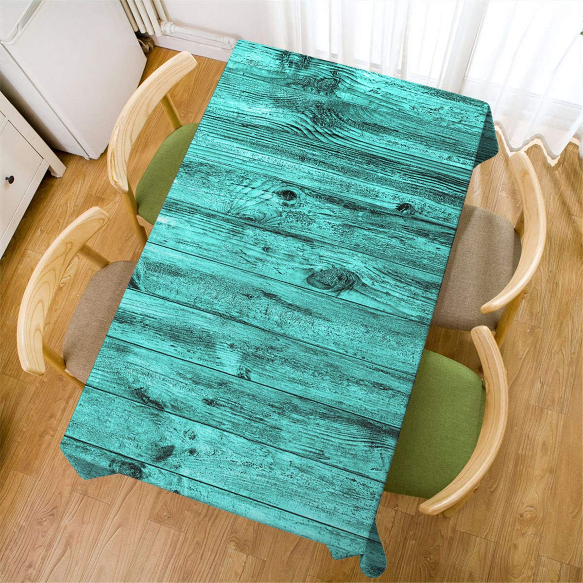Mugod Turquoise Wood Wall Tablecloth Wall of Wood Texture Background Dining Room Kitchen Decoration Rectangular Table Cover 52 W X 70 L Inches