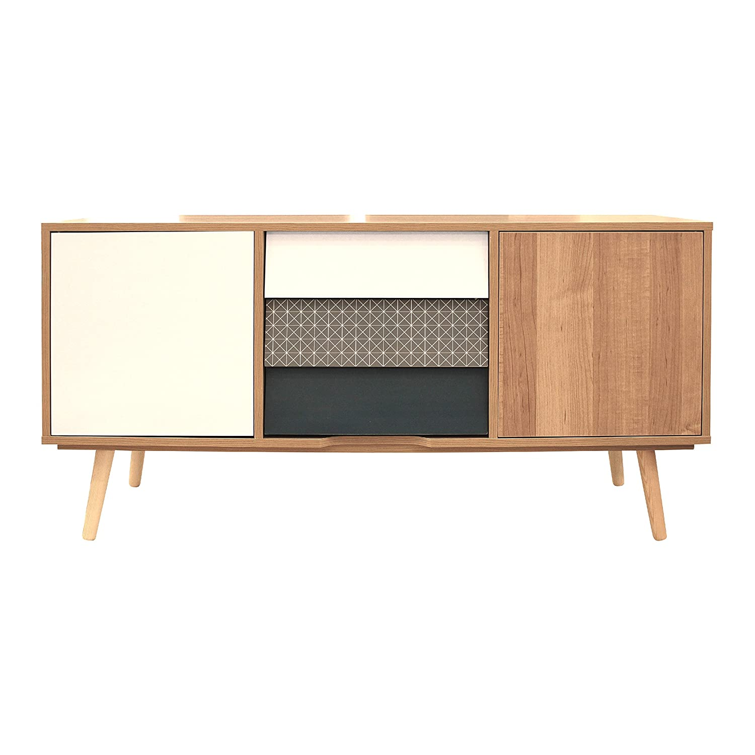 The Home Deco Factory Hd3723 Meuble Tv 2 Portes Et 3 Tiroirs  # Meuble Tv Scandinave Bleu
