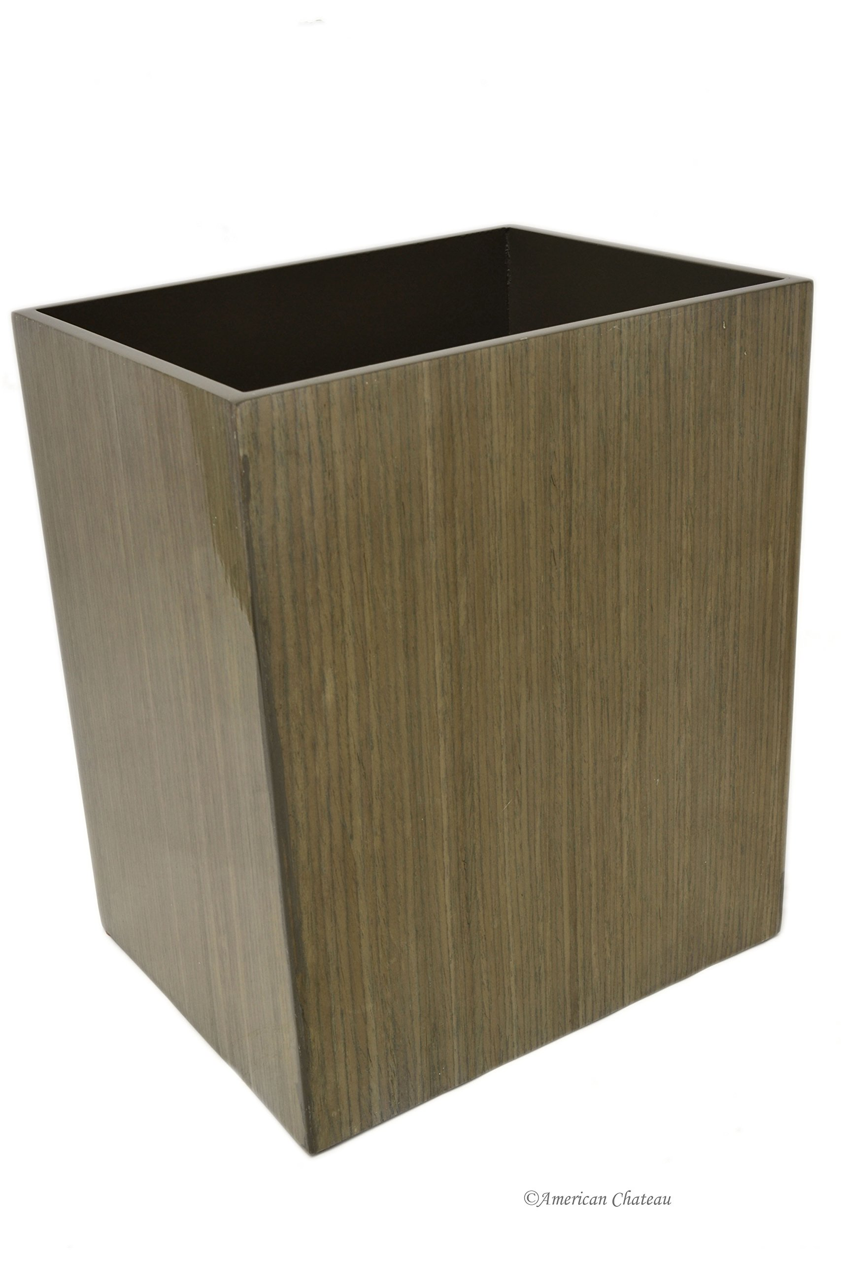 American Chateau Rectangular Large MDF Wood Walnut Veneer Waste Basket/Garbage Can Bin