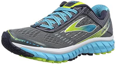 Brooks Women's Ghost 9 Running Shoes, Multicolor (Silver/Blue/Lime),