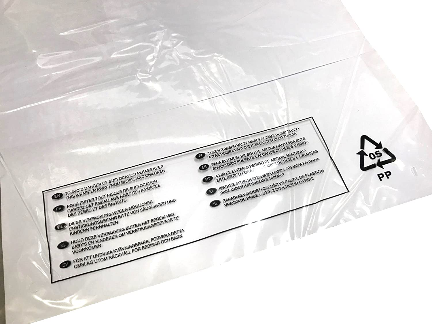 100x FBA Approved 1.8mil 45 Micron Poly Bags Self Seal Crystal Clear Extra Large Quality Made in UK Poly Bags With Suffocation Warning in 10 Languages for  Stock Poly Packaging Bagging In Various /& Mixed Sizes 325 x 440mm