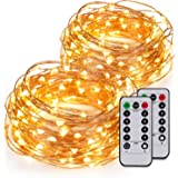 Kohree 2 Pack 60LEDs String Lights with Remote Control, AA Battery Powered on 20ft Long Ultra Thin String Copper Wire,Decor Rope Lights For Christmas, Wedding,Parties With Battery Box