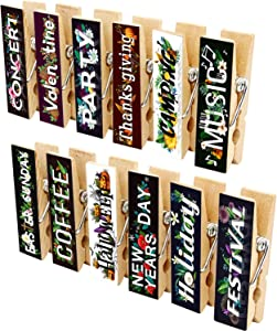 12pcs Refrigerator Magnet Clips by Cosylove-Decorative Magnetic Clips Made of Wood with Beautiful Patterns–Super Fridge Magnets for House Office Use - Display Photos,Memos, Lists, Calendars (Letter)