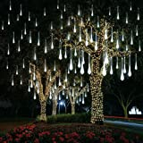 AKNMSOY LED Meteor Shower Lights,Falling Rain Drop Lights,Icicle Lights with Waterproof 11.8inch 8 Tubes SMD2835 192LEDs for Party Wedding Holiday Christmas Decoration