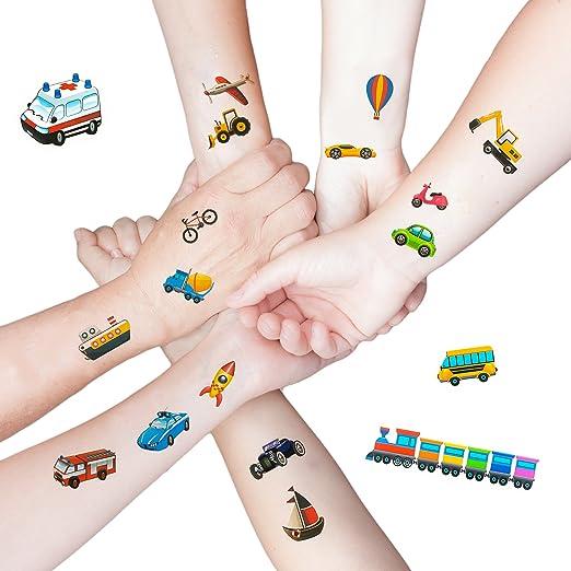 Oblique Unique 36 Bunte Fahrzeuge Als Temporare Tattoos Fur Kinder