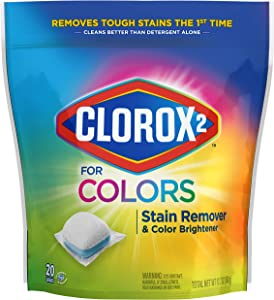 Clorox 2™ for Colors Stain Remover and Color Brightener Packs, 20 Count (Packaging May Vary) (Pack of 6)