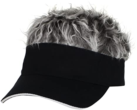 flair hair men black visor grey one size baseball cap attached