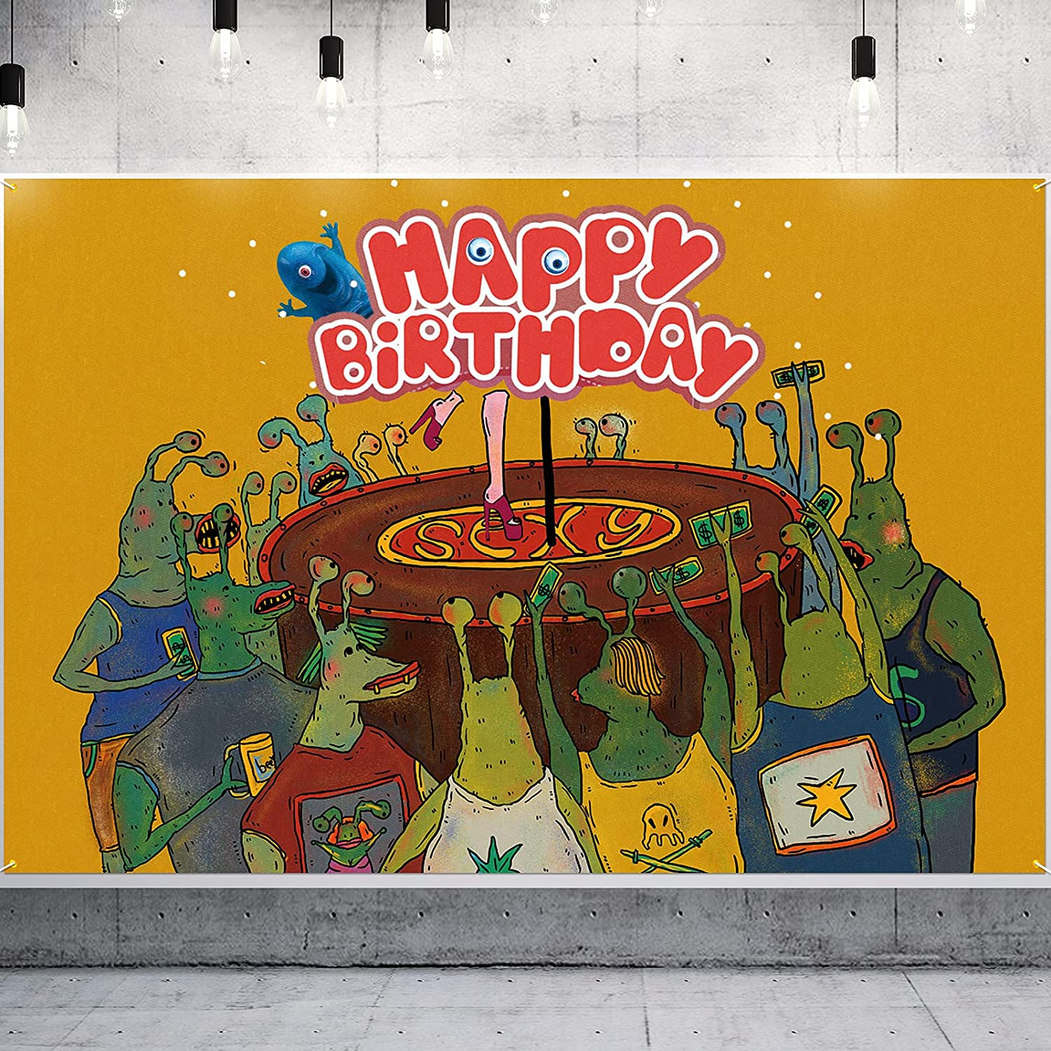 PAKBOOM Space Alien Backdrop Banner Happy Birthday Party Decorations Supplies for Monster Theme Background Decor - 3.9 x 5.9ft