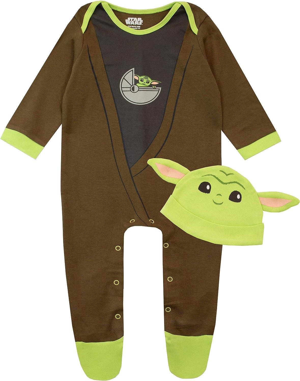 Star Wars Pijama Entera y Sombrero para Niños Bebés The Mandalorian Baby Yoda