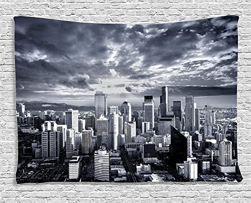 Ambesonne Wanderlust Tapestry, Seattle Cityscape Business Buildings Skylines Dark Clouds at Sunset Print, Wide Wall Hanging for Bedroom Living Room Dorm, 80 X 60 , Grey