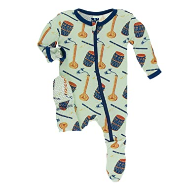431c18d37 Image Unavailable. Image not available for. Color: Kickee Pants Print Footie  with Zipper Pistachio Indian Instruments ...
