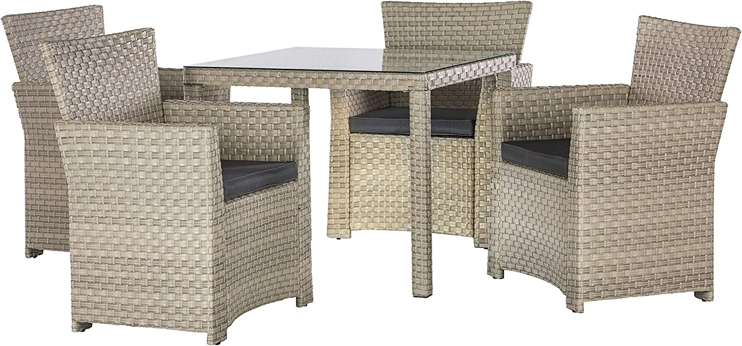 Barcelona Rattan Wicker 4 Seat Square Dining Set with Cushions and weatherproof Furniture Cover