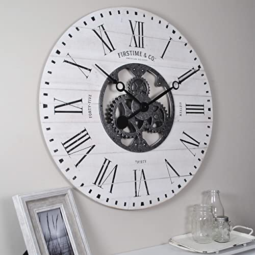 FirsTime Co. Shiplap Gears Wall Clock, 27 , Aged White