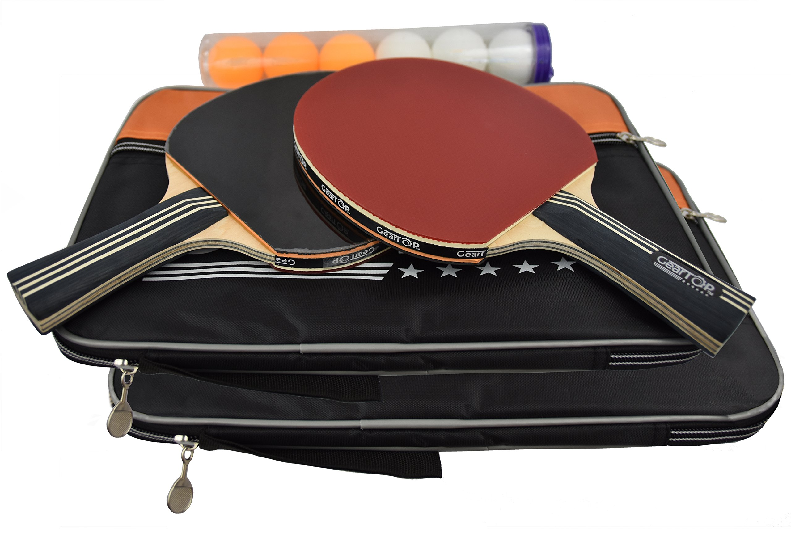 GearTOP Table Tennis Set, Pack of 2 Premium Paddles Rackets and 6 Ping Pong Balls. Ideal for Beginners and Professionals, On-The-Go Bundle