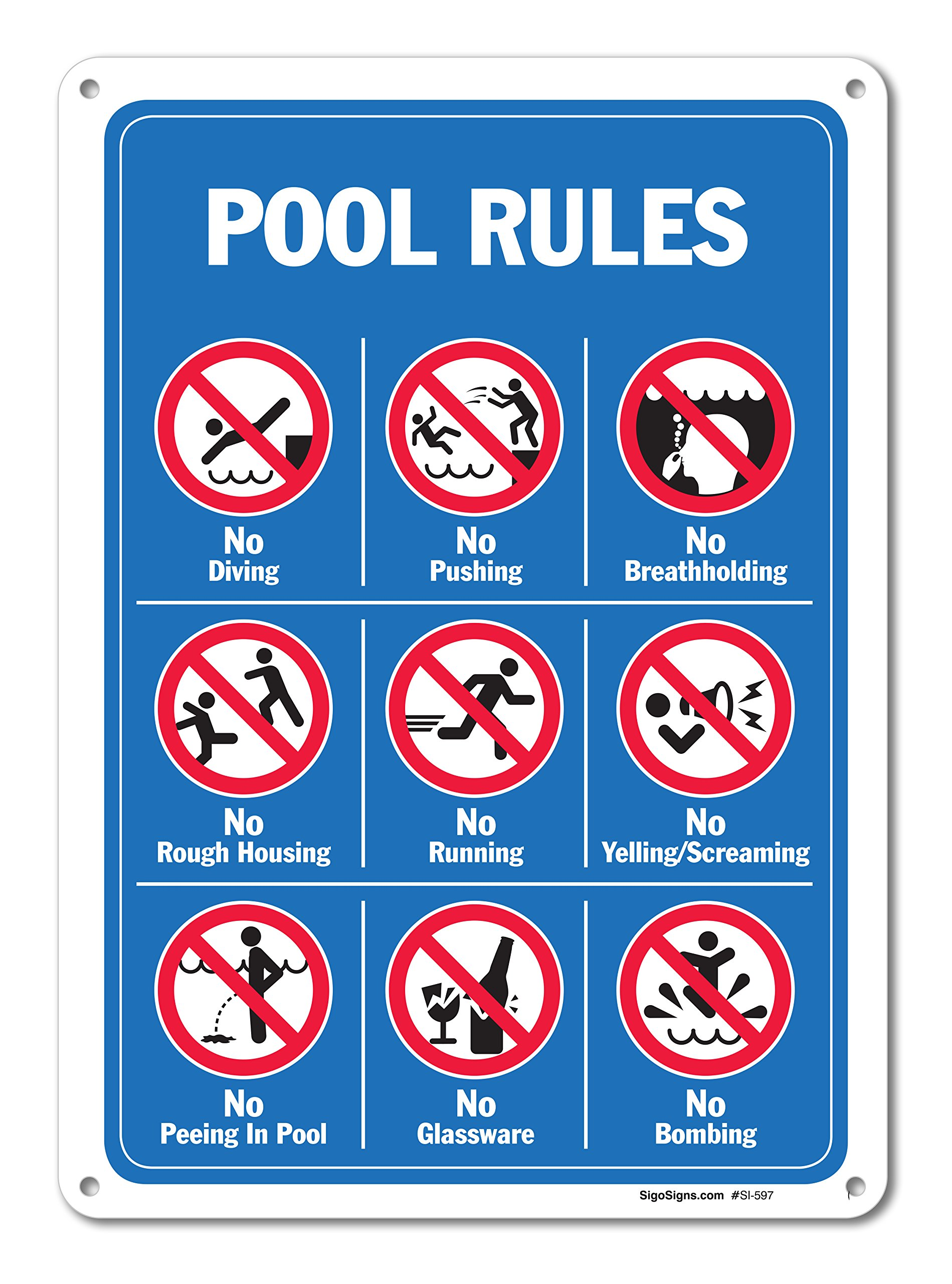 Pool Signs - Pool Rules Sign With Graphics- Large 10 X 14 Aluminum, For Indoor or Outdoor Use - By SIGO SIGNS by Sigo Signs