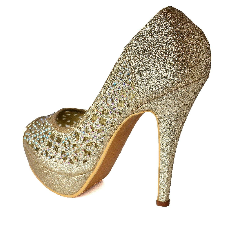 Ladies Floral Lace Diamante Platform Peep Toe High Heel Party Evening Shoes Size