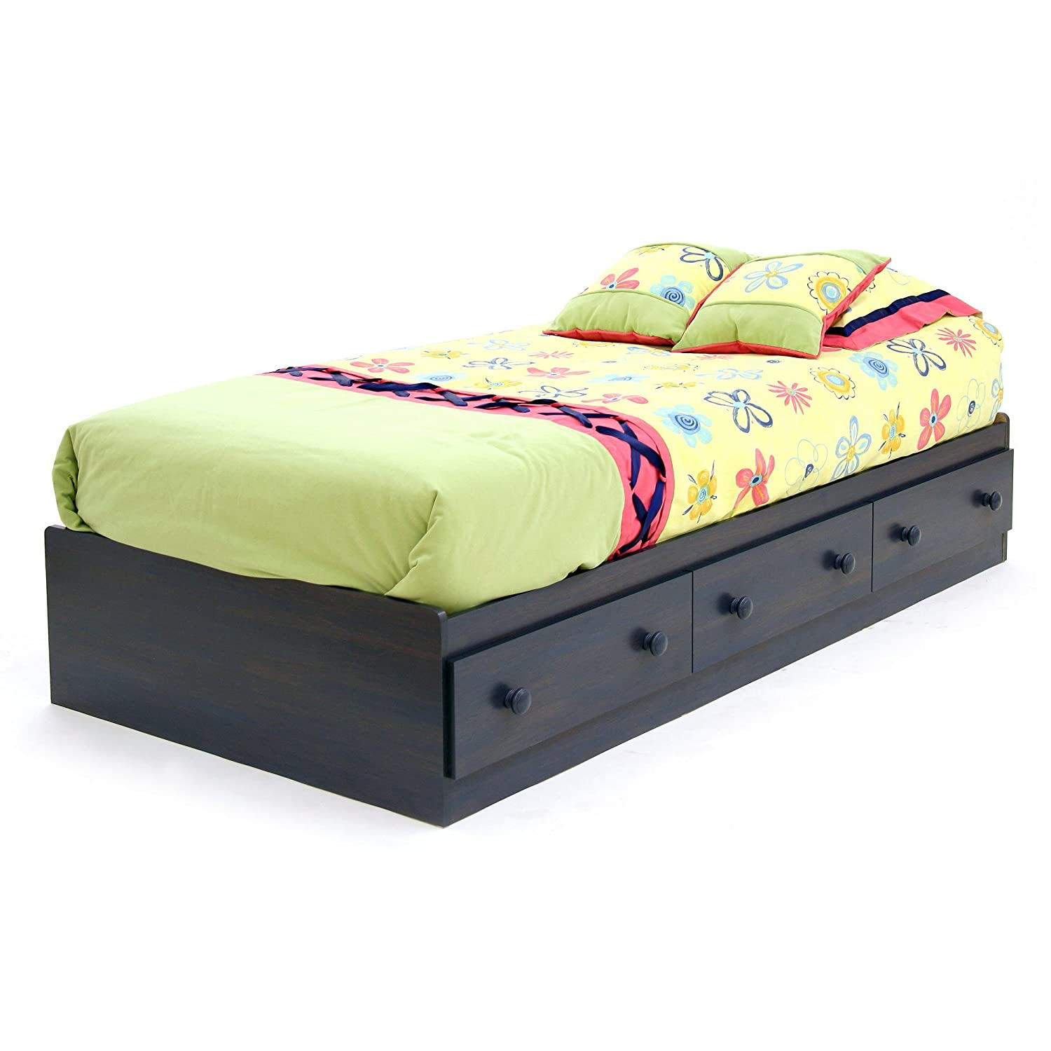 Summer Breeze Collection Twin Bed With Storage   Platform Bed With 3 Drawers   Blueberry By South Shore by South Shore