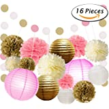 paxcoo 16 pcs pink and gold party supplies with paper lanterns and tissue pom poms for