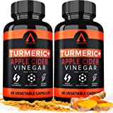 Turmeric Curcumin Capsules Supplements with Apple Cider Vinegar & Bioprene 1650mg Black Pepper Ginger Extract, Tumeric Organic Powder Pills, Premium Joint & Healthy Inflammatory Support (2-Pack)