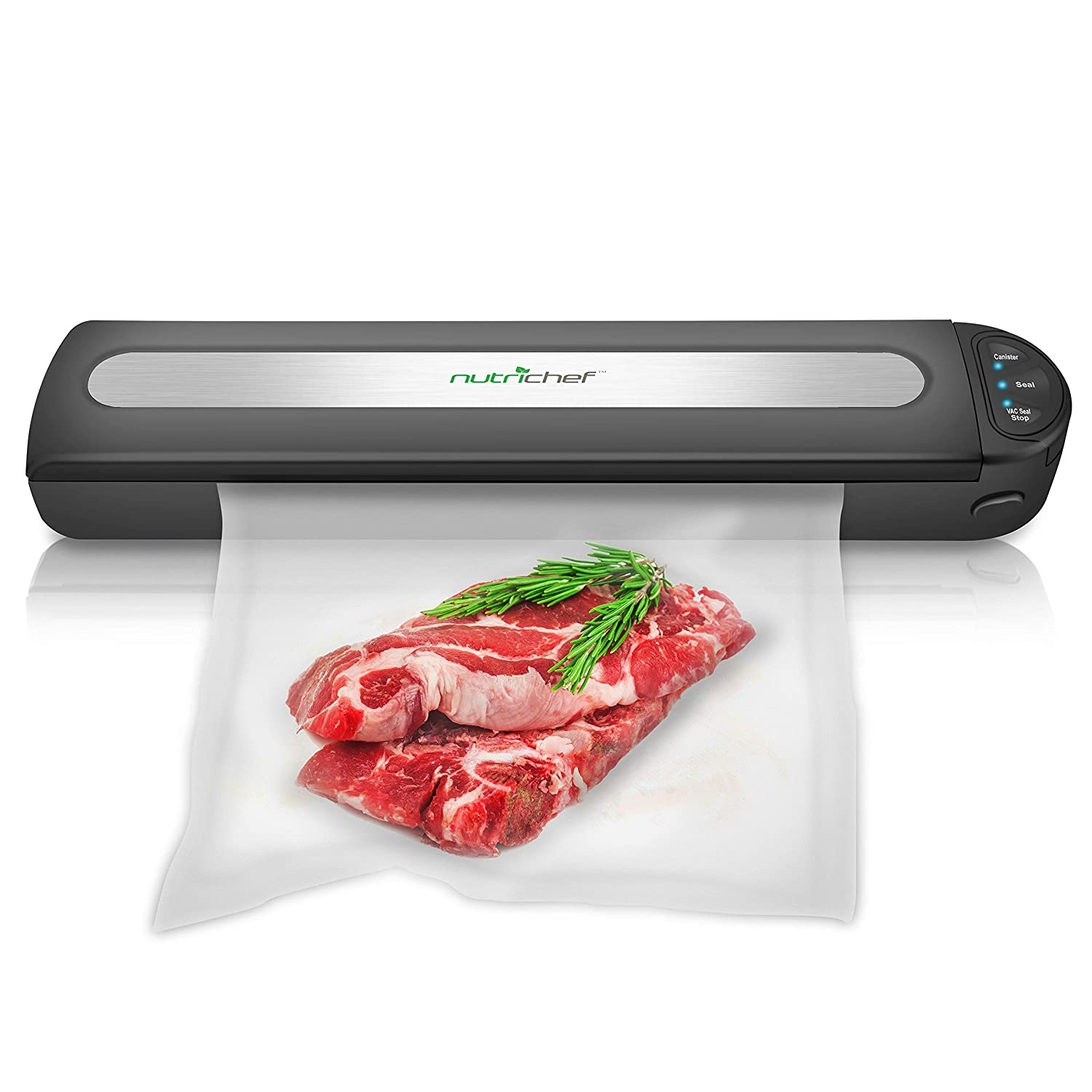 Automatic Food Vacuum Sealer System - 110W Stainless Steel Air Sealed Machine For Meat Packing Sealing Preservation Sous Vide w/ Saver Vac Seal Bags Roll, Vacuum Air Hose - NutriChef PKVS15BK (Black)
