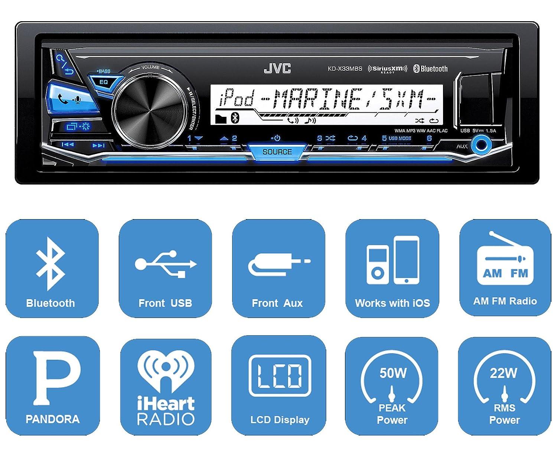Amazon.com: Harley Audio Package Of JVC KDX33MBS Marine Radio Stereo ...