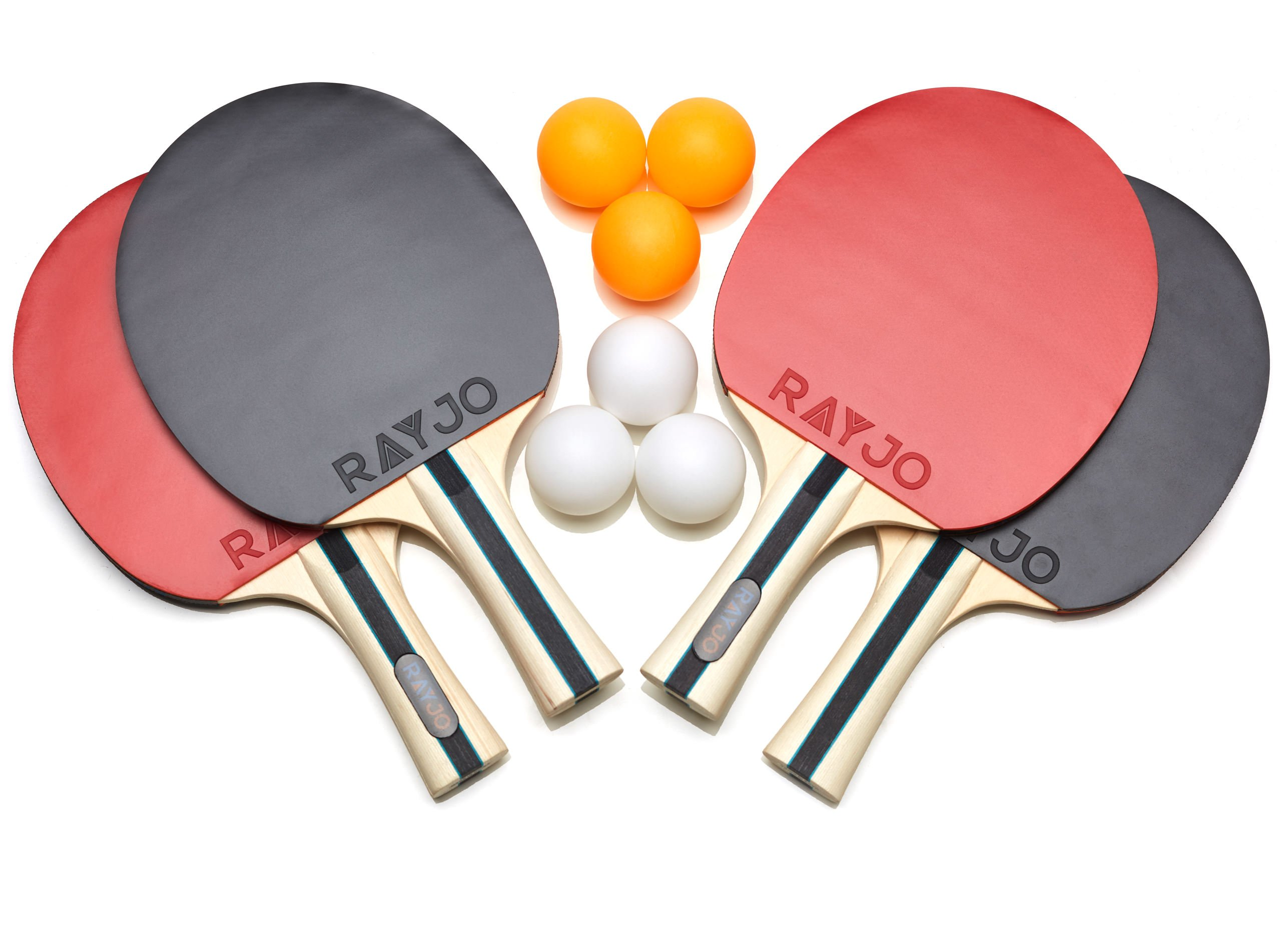 RAYJO Ping Pong Racket Set - Pack of 4 Table Tennis Paddle and 6 Table Tennis Balls - Ideal for Tournament and Recreational Games