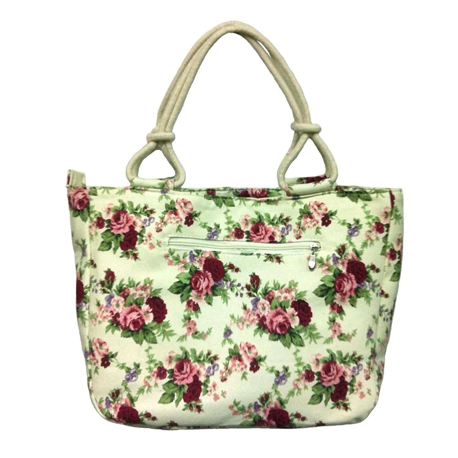Amazon.com: Zipper Canvas Tote Bag - Red Roses Pattern: Clothing