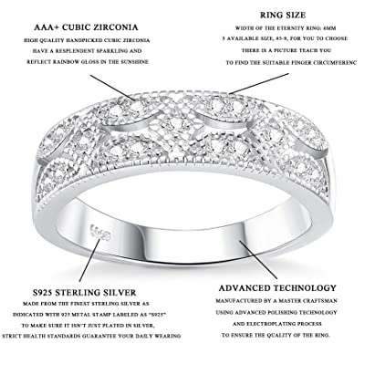 Milacolato 925 Sterling Silver CZ Eternity Band for Women Platinum Plating Wedding Ring Comfort Fit Size 5 to 9
