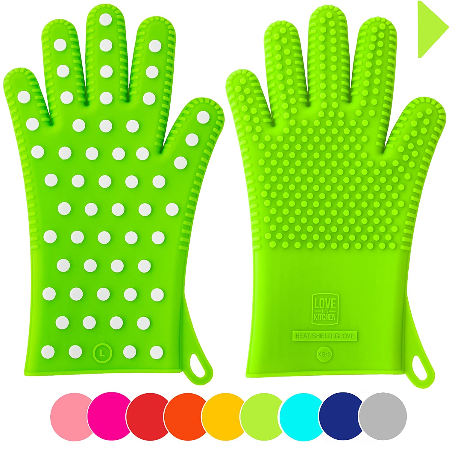 Lime green oven mitts