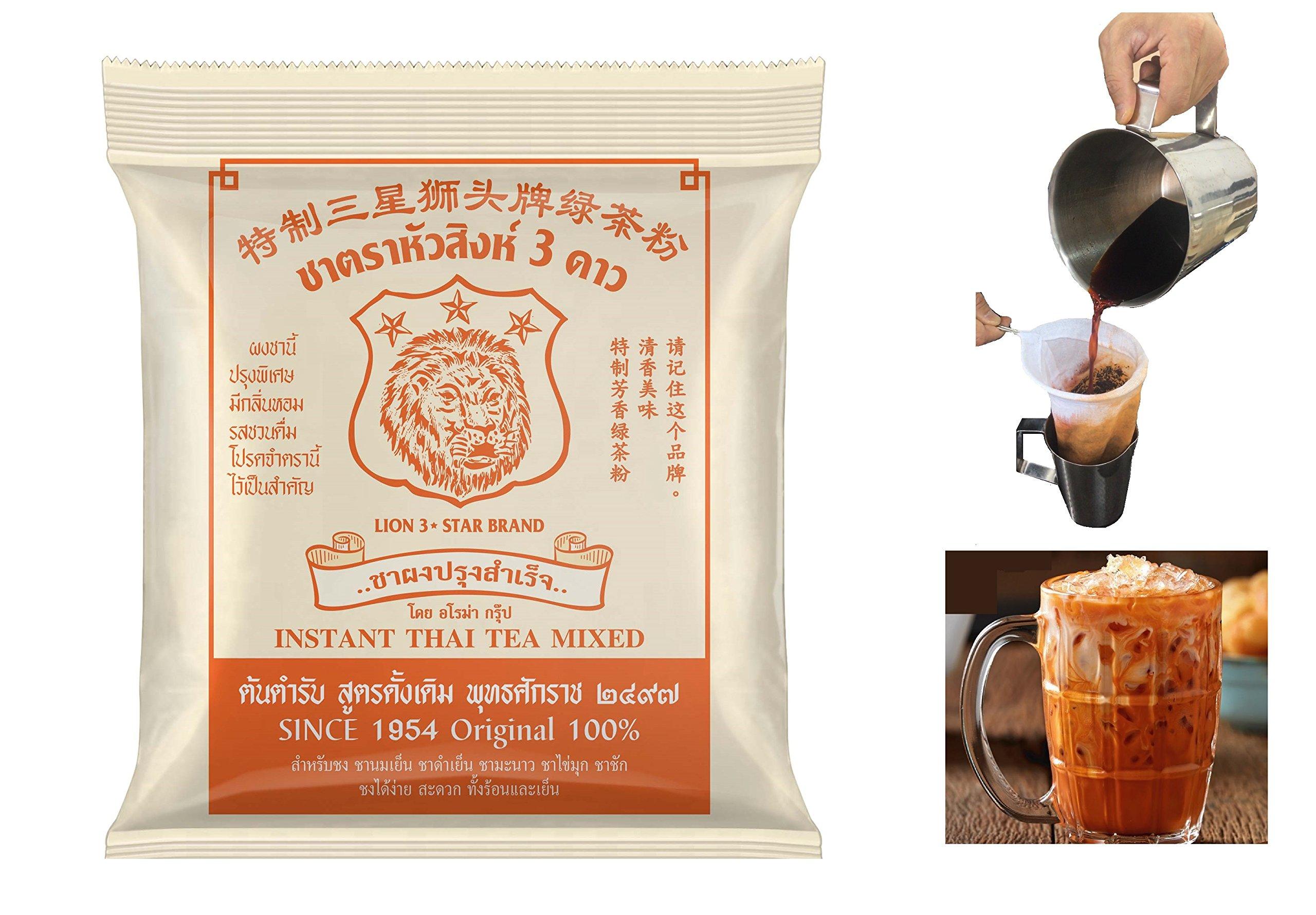 Thai Tea - Number one instant Thai Tea mixed,100% original Natural Loose Leaf Thai tea - 400g | Made from Stronglyt-Brewed Black Tea | Makes Iced Tea and Boba Tea | By Lion 3 Star