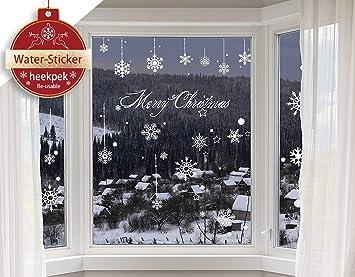 Heekpek Schneeflocken Selbstklebend Fensterschmuck Weihnachten