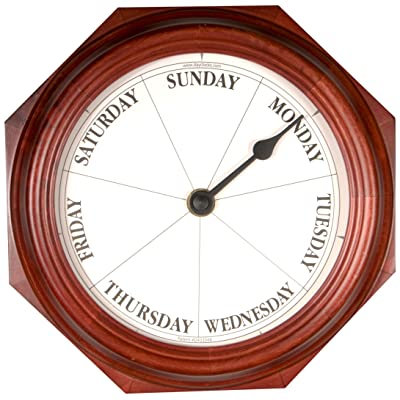DayClocks Classic Day of The Week Fun Retirement Gift – Mahogany Wall Clock, 9 Round