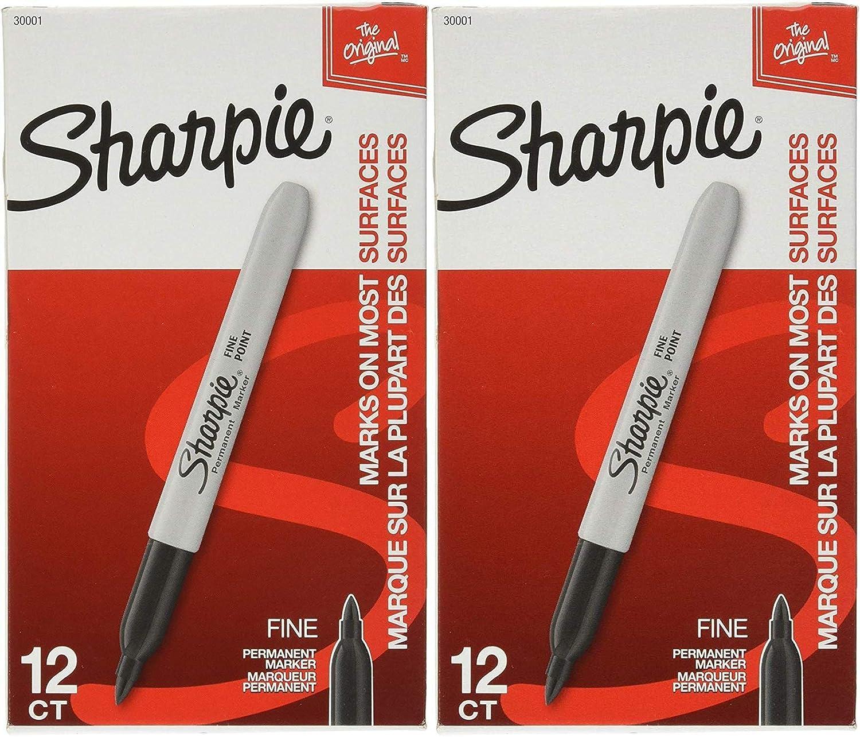 Sharpie Permanent Marker Fine Point Black 30101 12 Markers