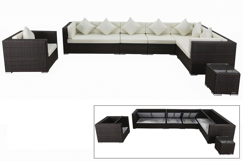 outflexx stilvolles loungem bel set sitzgruppe aus hochwertigem poly rattan in braun marmoriert. Black Bedroom Furniture Sets. Home Design Ideas