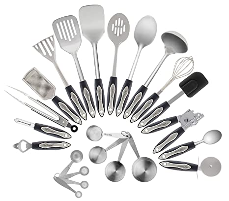 Amazon Com Stainless Steel Kitchen Utensil Set 23 Pc Set