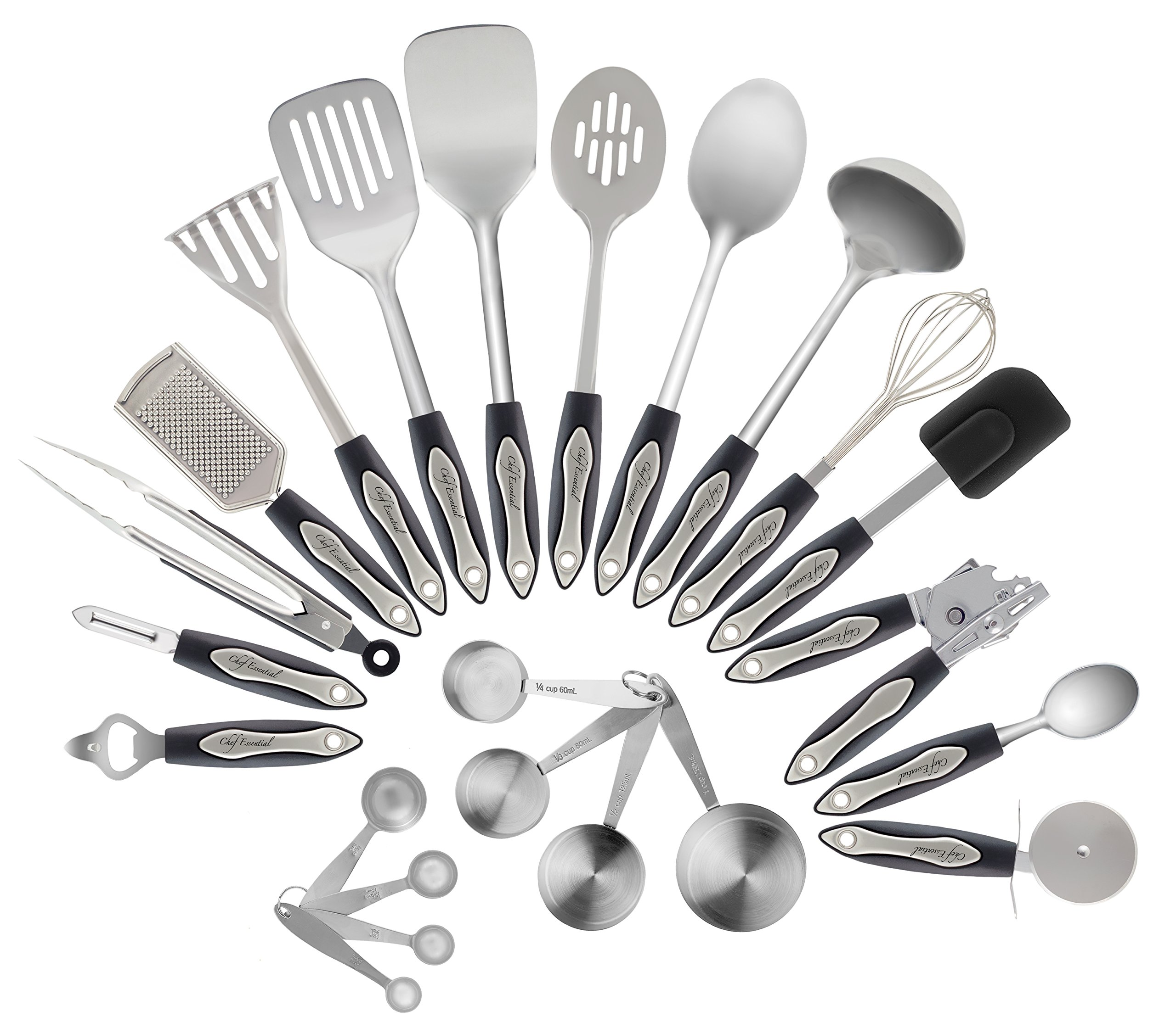 Stainless Steel Kitchen Utensil Set, 23-Pc Set, Everything You Need For Cooking Included, Material, Great Gift Idea For Your Loved One.